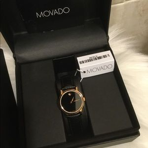 Movado Watch Swiss Movement, Leather Authentic